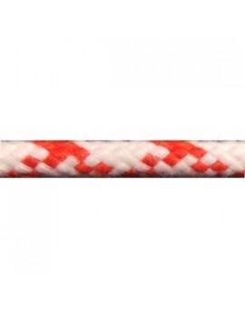 Ecoute polyester 16F Touché coton Ø8mm - blanc/fils rouge